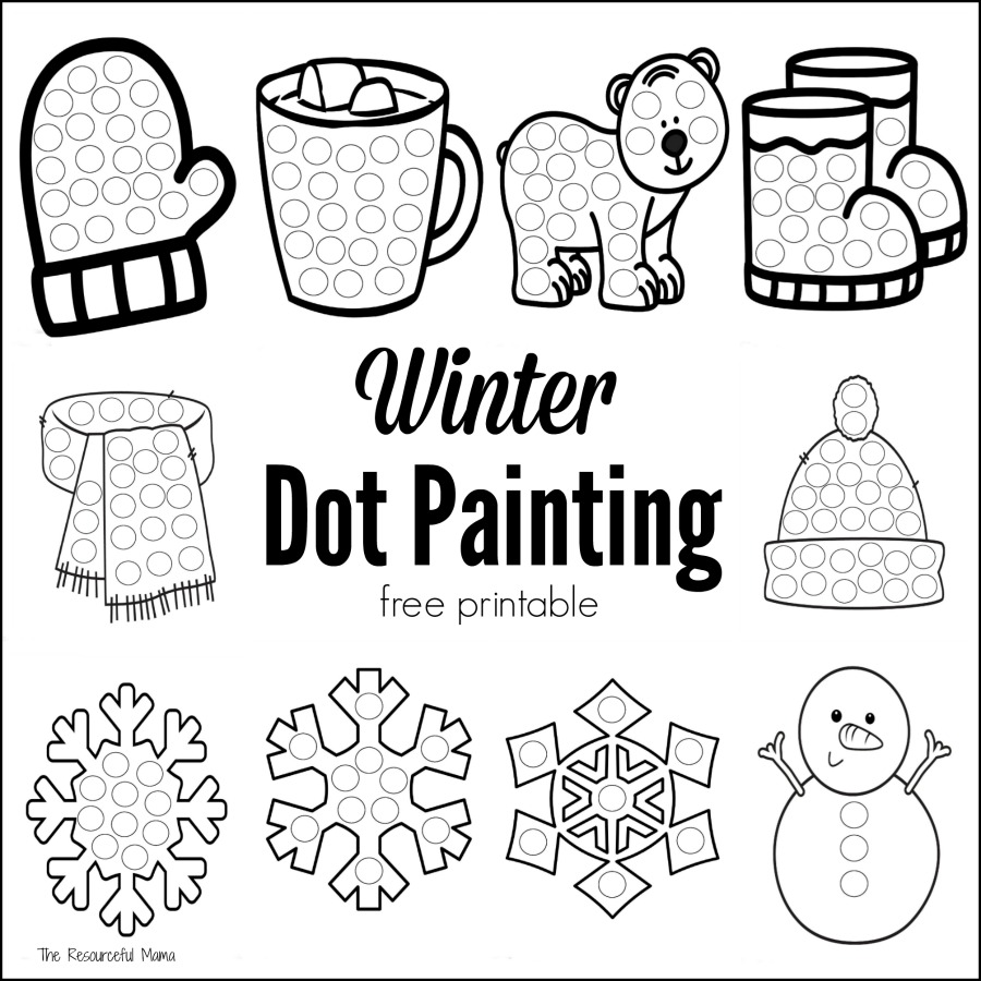 these winter dot painting printables are a great low mess no prep activity for kids this - Kids Painting Pictures Printable