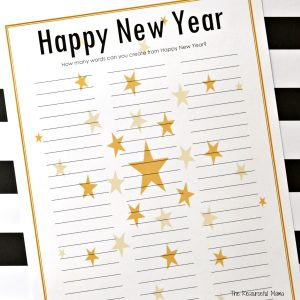 This Happy New Year word puzzle is a fun and entertaining New Year's Eve activity for kids and adults that can easily be turned into a competition or game.