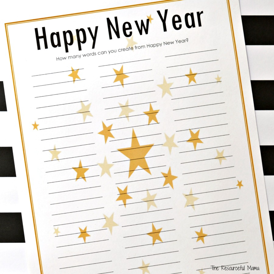 new years eve activity word puzzle