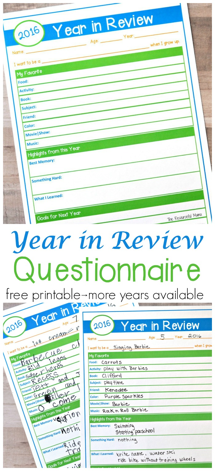 Start a new tradition this New Year's and have your child complete this free printable Year in Review questionnaire. They record their favorites, highlights, and goals. New Year's Eve activity for kids