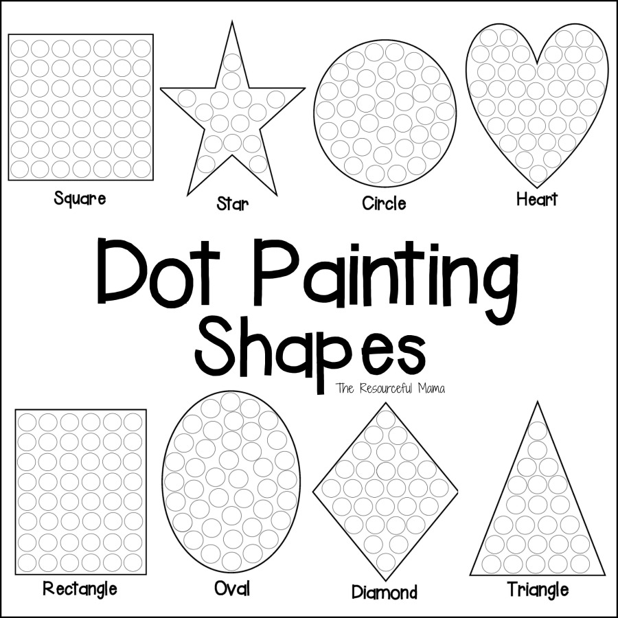 Shapes Dot Painting {Free Printable} - The Resourceful Mama