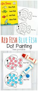 "This dot marker printable pairs great with the classic Dr. Seuss book ""One Fish Two Fish Red Fish Blue Fish. Use do a dot markers, bingo daubers, pom poms, or dot stickers."