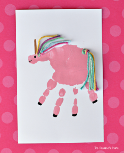 Make an adorable unicorn craft using your child's handprint.