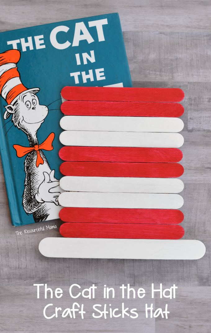 Dr Seuss The Cat in the Hat craft sticks hat craft for kids. Great craft extension to the a favorite book for Read Across America Day.