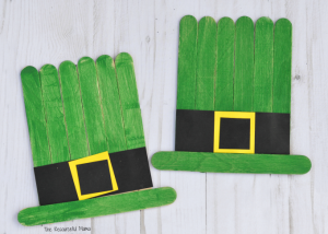 Leprechaun hat craft kids can make for St. Patrick's Day from craft sticks.