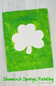 Shamrock resist sponge painting a fun St. Patrick's Day art project for kids