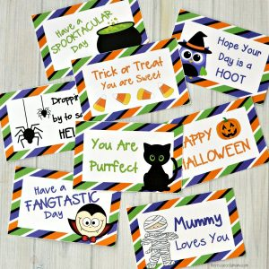 Add a little fun and surprise to your kid's lunch box this Halloween with these printable Halloween lunch box notes.