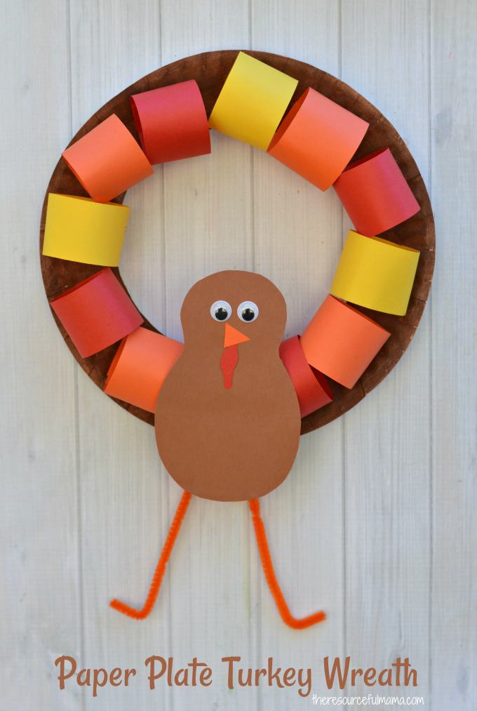 This Paper Plate Turkey Wreath is a fun kid craft and decoration for Thanksgiving. & Paper Plate Turkey Wreath Craft - The Resourceful Mama