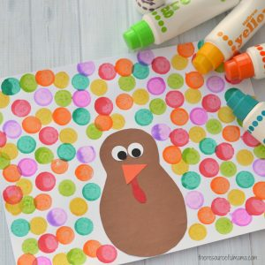 The supplies and steps for this Dot a Dot Thanksgiving Craft are simple and basic making it the perfect Thanksgiving turkey craft for young kids.