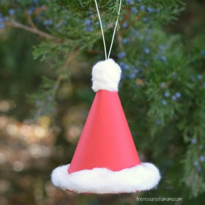 Paper Santa Hat Christmas Ornament