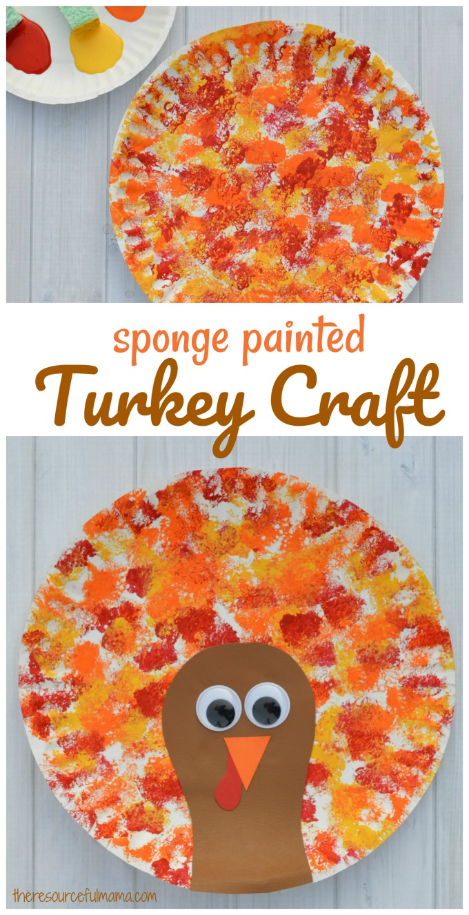 Sponged painted thanksgiving turkey craft the