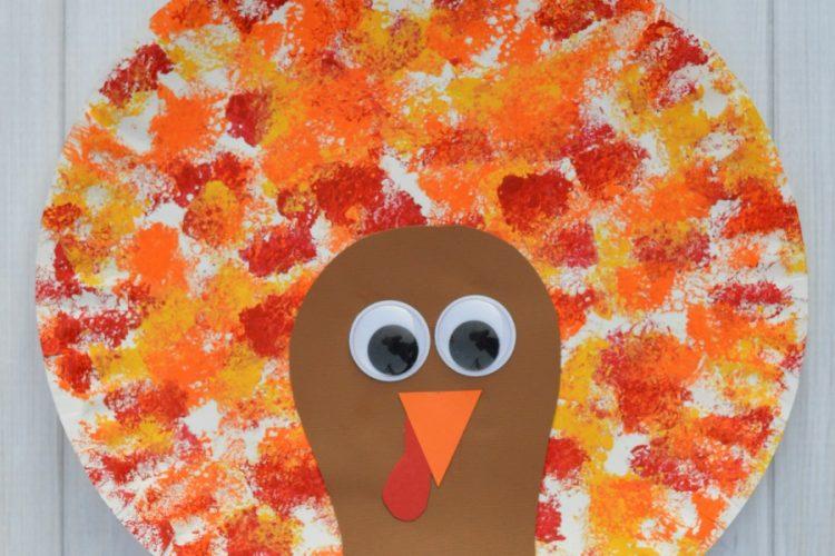Sponged Painted Thanksgiving Turkey Craft