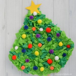 This Crepe Paper Christmas Tree Craft uses paper plates, crepe paper, and pompoms to create a fun and festive Christmas kid craft.