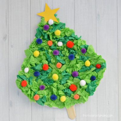 Crepe Paper Christmas Tree Craft for Kids