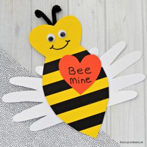 This adorable Handprint Bee Mine Valentine Day Craft makes a cute kid made craft, card and keepsake for Valentine's Day.