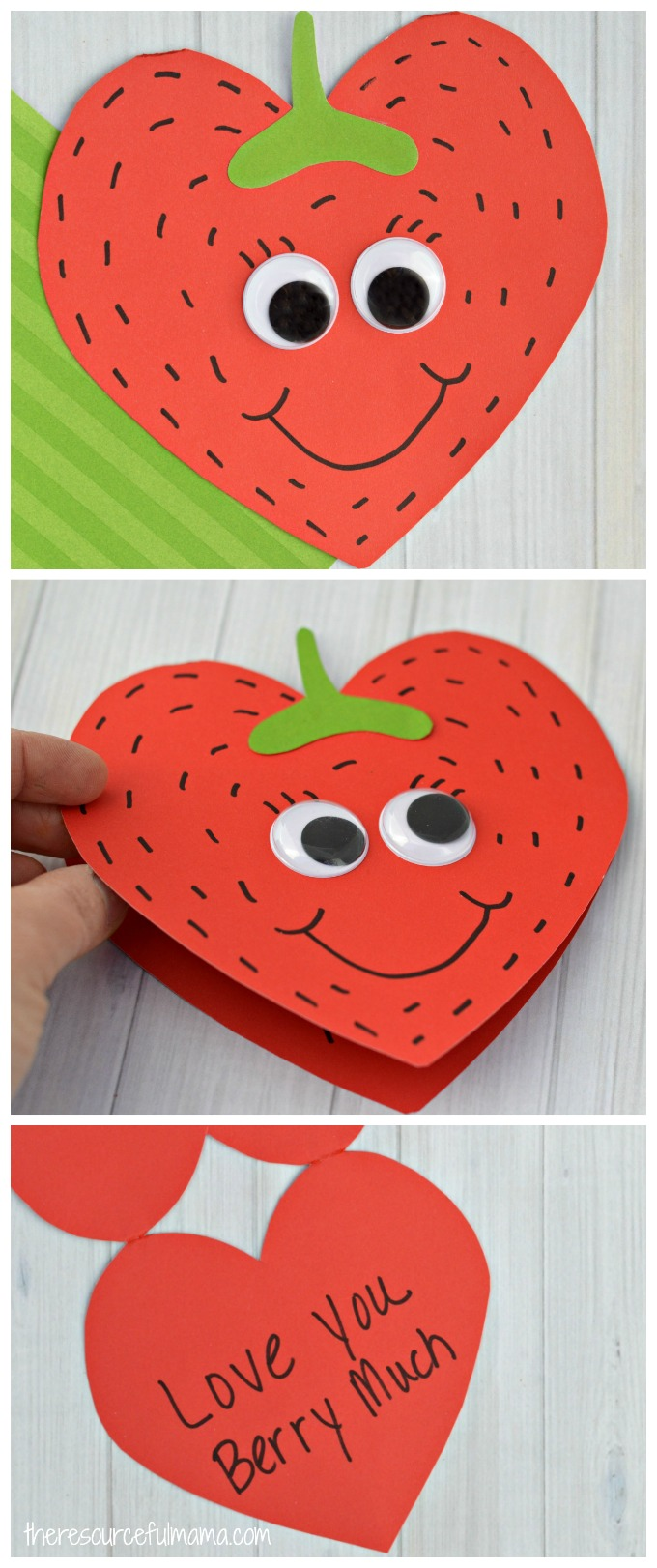 This Strawberry Valentine Day Card is a super sweet card kids can make this Valentine's Day for family, teachers, or friends.