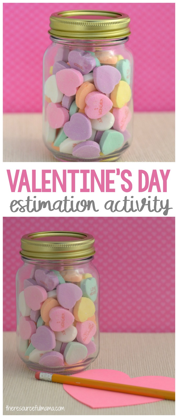 This Valentine's Day Estimation Activity is a simple, quick, and inexpensive game kids love playing at Valentine's Day parties.