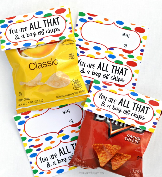 picture regarding You're All That and a Bag of Chips Printable called On your own Are All That a Bag of Chips Valentines for More mature Little ones