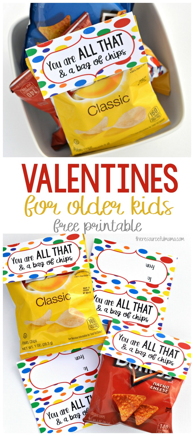 graphic regarding You're All That and a Bag of Chips Printable named Yourself Are All That a Bag of Chips Valentines for More mature Small children