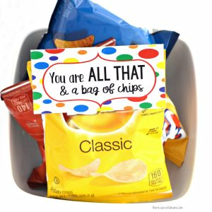 "Chips and ""You Are All That & a Bag of Chips"" cards make are simple, quick, inexpensive, and kid approved Valentines for older kids."
