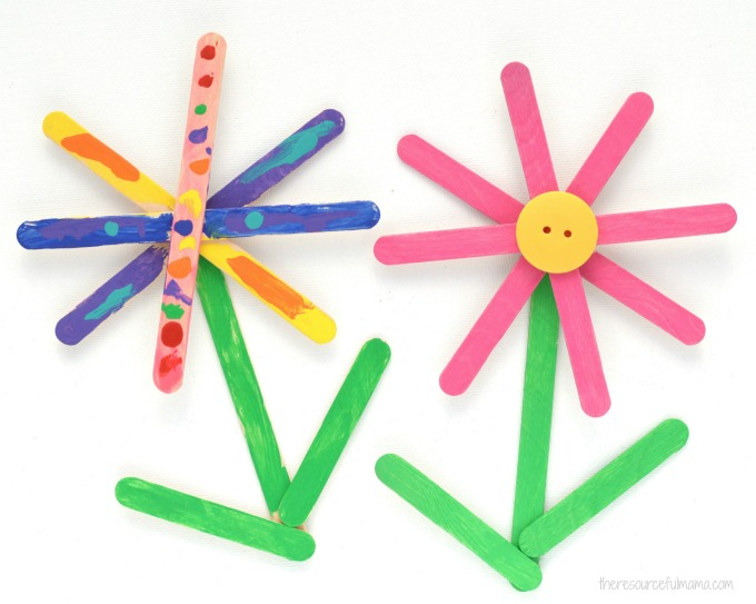 Turn popsicle sticks into a bright and colorful Popsicle Sticks Flower Craft kids will enjoy making both spring and summer.