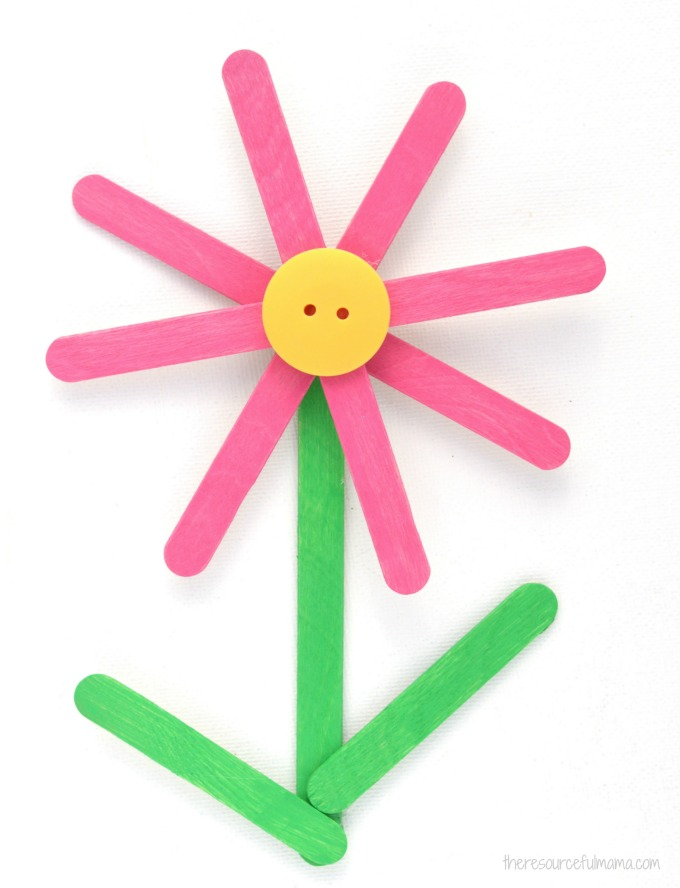 Turn craft sticks into a bright and colorful Popsicle Sticks Flower Craft kids will enjoy making both spring and summer.