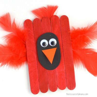 Craft Sticks Cardinal Craft for Kids