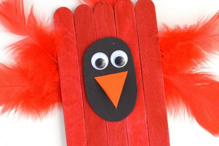Craft Sticks Cardinal Craft for Kids