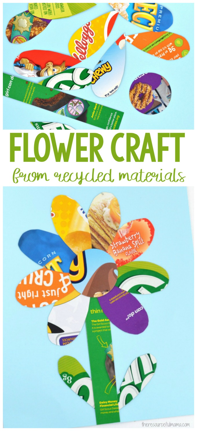 This simple and colorful recycled materials flower craft is a great way for kids to celebrate recycling by turning discarded items into art.
