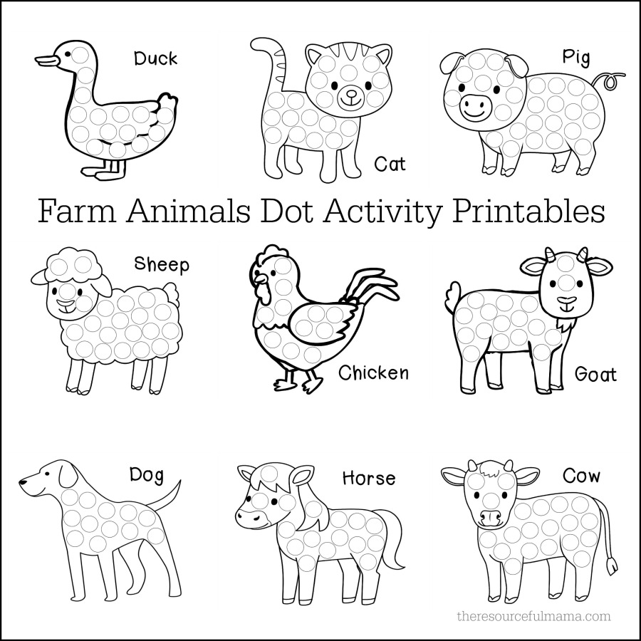 farm animals dot activity worksheets the resourceful mama. Black Bedroom Furniture Sets. Home Design Ideas