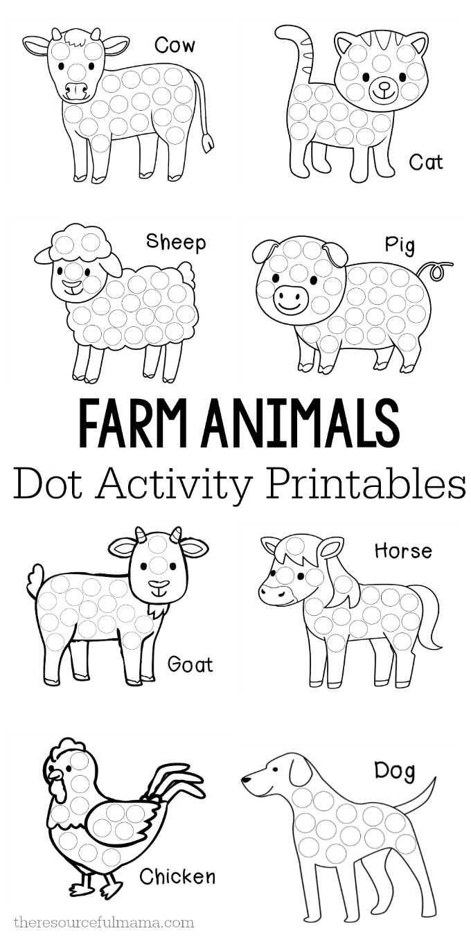 These farm animals dot activity printables are a fun fine motor activity for toddlers and preschoolers that will make a addition to your farm unit. They work great with Do a Dot markers, bingo markers, dot stickers, or pom poms. #preschoolers #toddlers #finemotor
