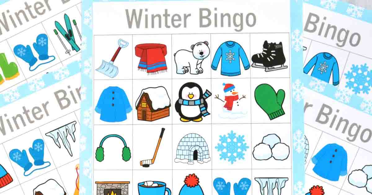 picture about Winter Bingo Cards Free Printable called Wintertime Bingo Sport - The Artistic Mama